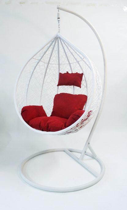 balancin blanco cojin rojo