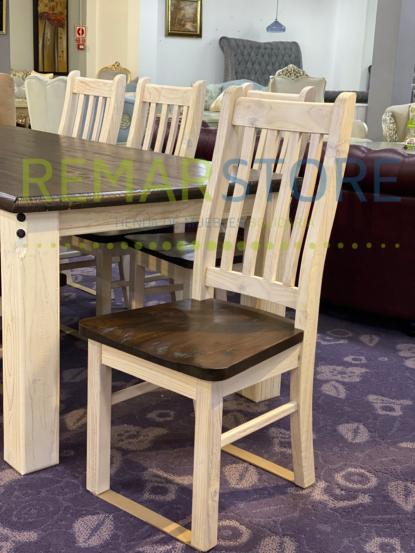 conjunto madera 6 sillas blanco